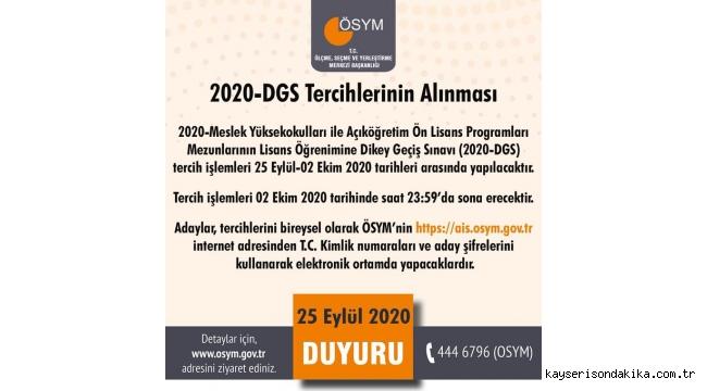 2020 Dikey Geçiş Sınavı tercihleri başladı! 2020-DGS tercih kılavuzu yayınlandı