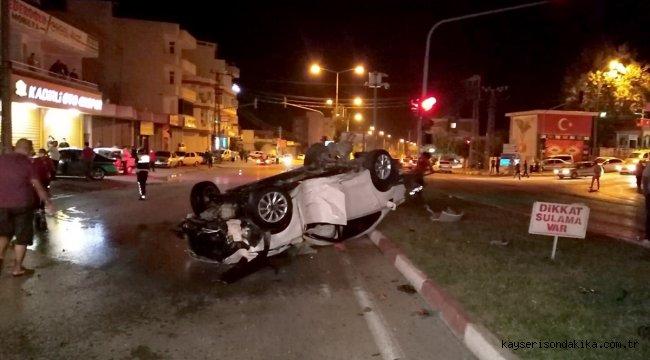 Osmaniye'de refüjdeki ağaca çarpan otomobil devrildi: 2 yaralı