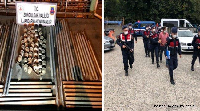 Zonguldak'ta yüksek gerilim hattı direklerinden demir çaldığı iddia edilen 4 şüpheli tutuklandı