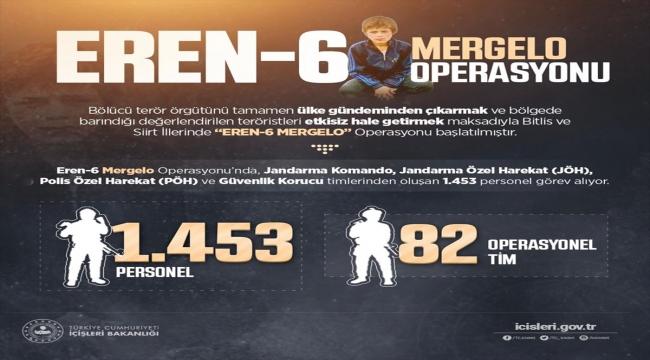 """Bitlis ve Siirt'te 1453 personelin katılımıyla """"Eren-6 Mergelo Operasyonu"""" başlatıldı"""