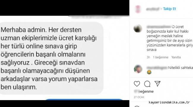 """Erciyes Üniversitesi (ERÜ) online sınavlarında """"online sahtekarlık"""""""