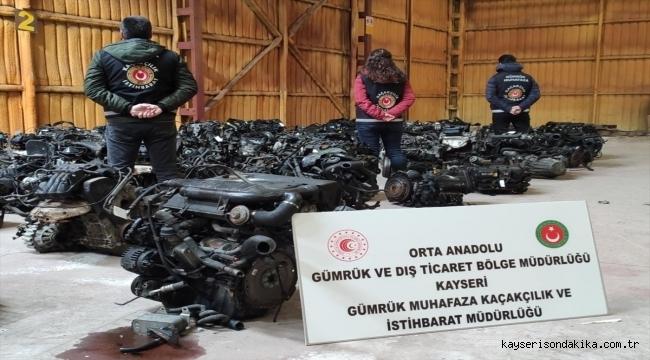 Kayseri'de kaçak lüks araç motorları ele geçirildi