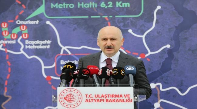Ulaştırma ve Altyapı Bakanı Karaismailoğlu, Başakşehir-Kayaşehir metro inşaatında incelemelerde bulundu: