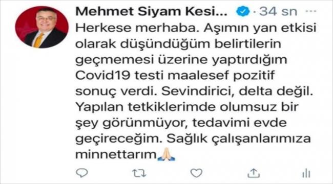 Kırklareli Belediye Başkanı Kesimoğlu'nun koronavirüs testi pozitif çıktı